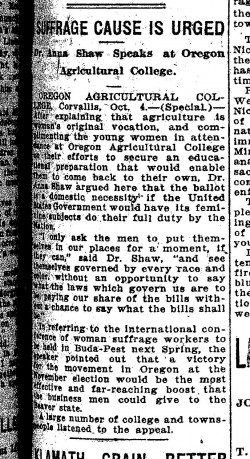 Shaw in Corvallis Oct 1912