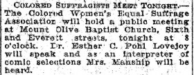 """Colored Suffragists Meet Tonight,"" Oregonian, September 16, 1912, 9."