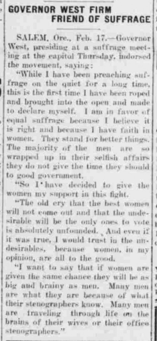 Gov West Supports Suffrage Medford Tribune