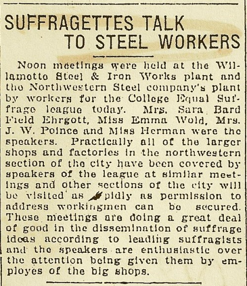 Suffragettes Talk to Steel Workers