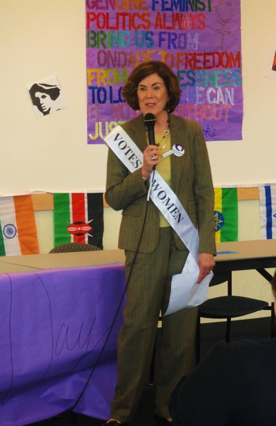 Meg Weiss proudly wearing her sash.